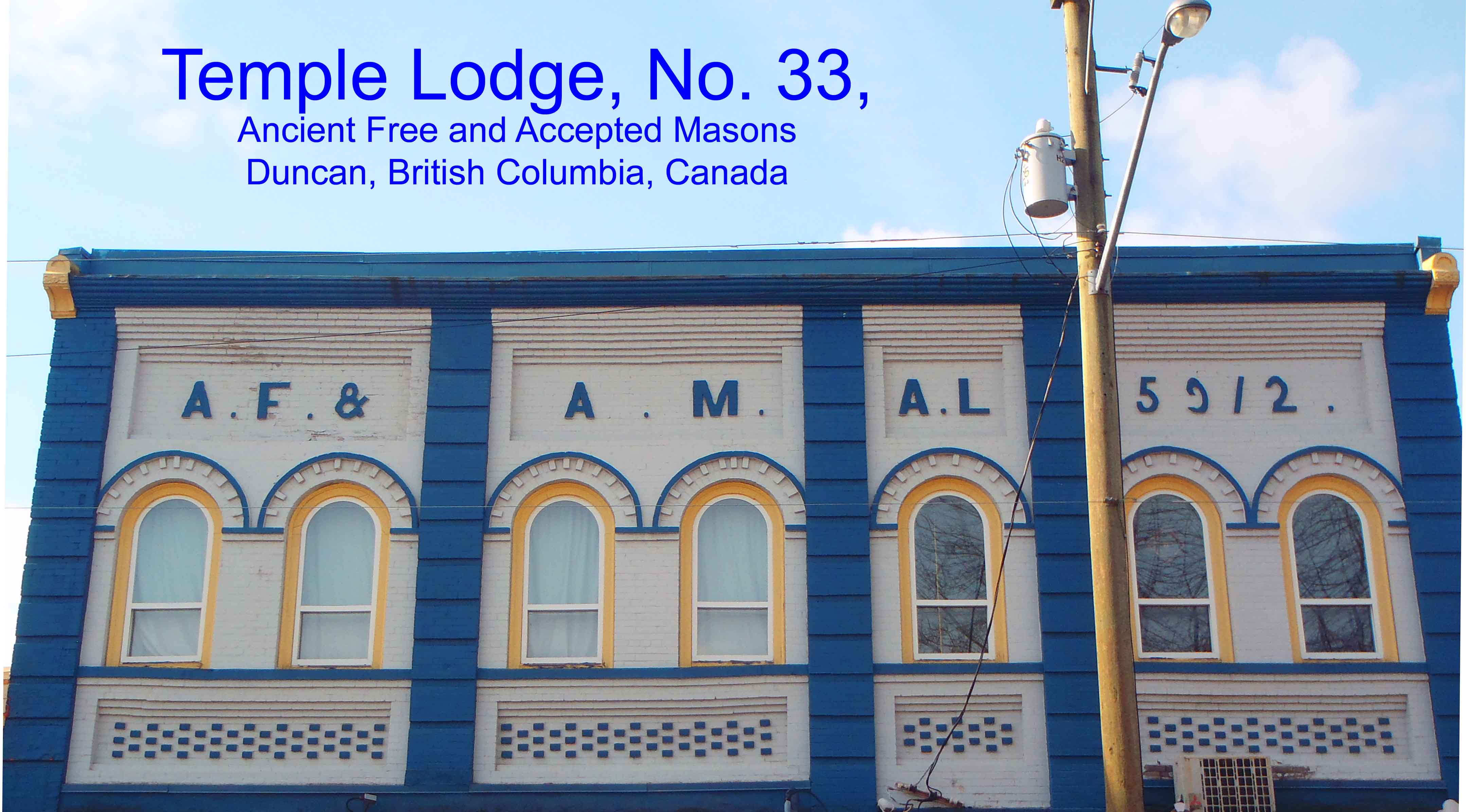 Masonic Temple, Duncan, B.C. and Temple Lodge header