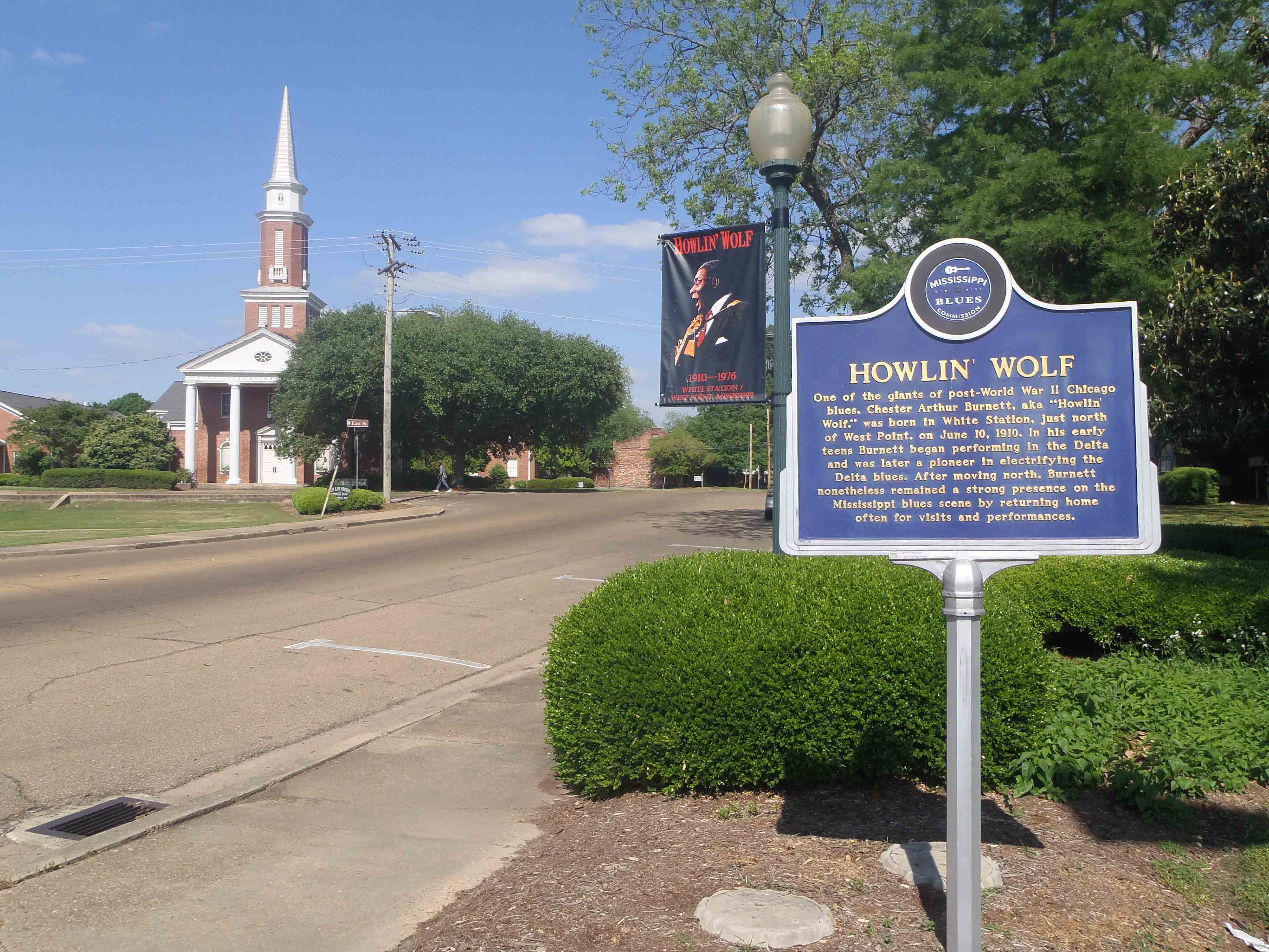 Mississippi Blues Trail marker for Howlin' Wolf in West Point, Mississippi