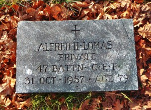 Alfred Lomas headstone, St. Peter's Quamichan Anglican cemetery
