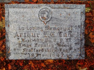 Arthur Edward Cecil Lane headstone, St. Peter's Quamichan Anglican cemetery