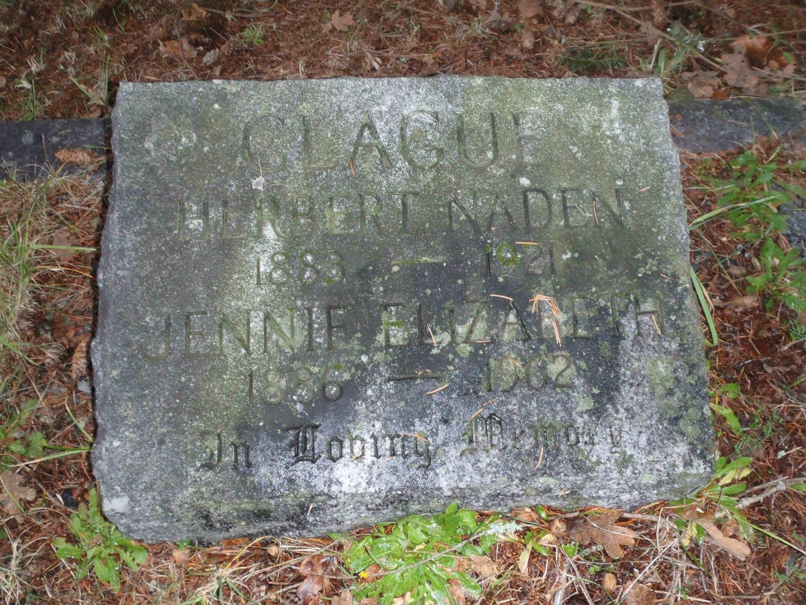 Herbert Naden Clague grave marker, St. Peter's Quamichan cemetery, Duncan, B.C.