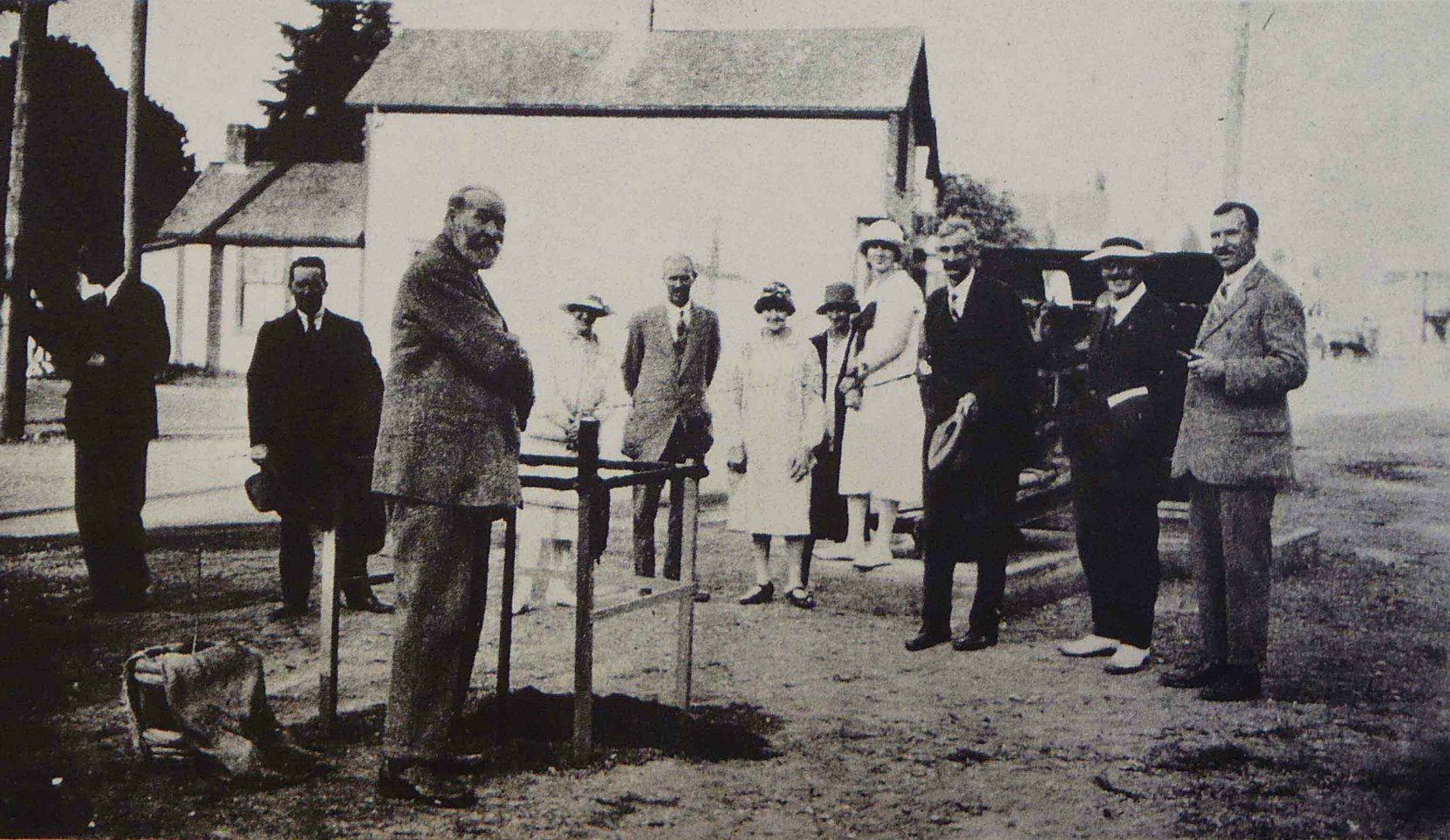 David Alexander planting the Confederation Tree, Government Street, Duncan, B.C. on 1 July 1927.