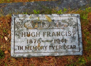 Hugh Vidal grave stone, St. Peter's Quamichan Anglican cemetery