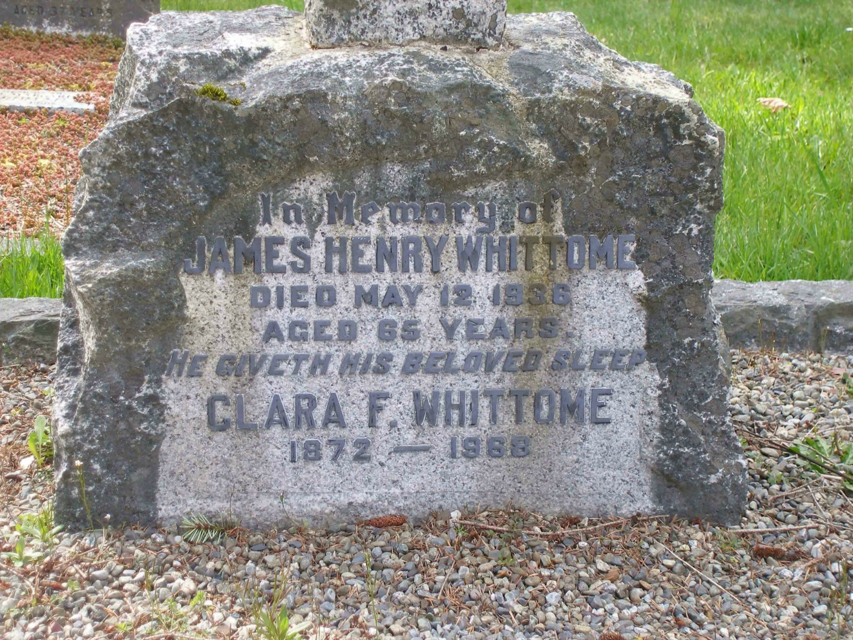 James Henry Whittome grave inscription, St. Peter's Quamichan cemetery