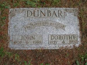 John & Dorothy Dunbar, grave, St. Peter's Quamichan cemetery