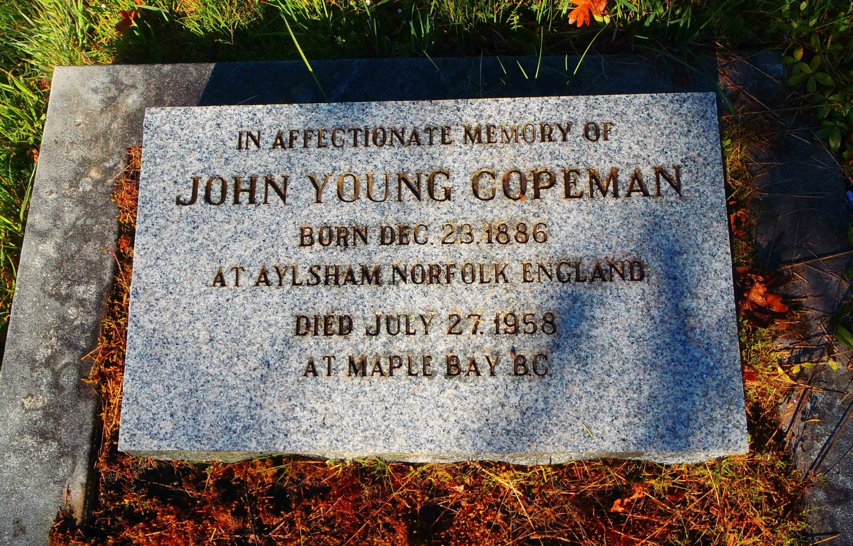 John Young Copeman, grave stone, St. Peter's Quamichan cemetery
