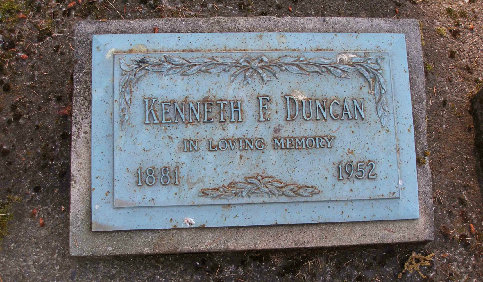 Kenneth F. Duncan grave marker, St. Peter's Quamichan Anglican cemetery.