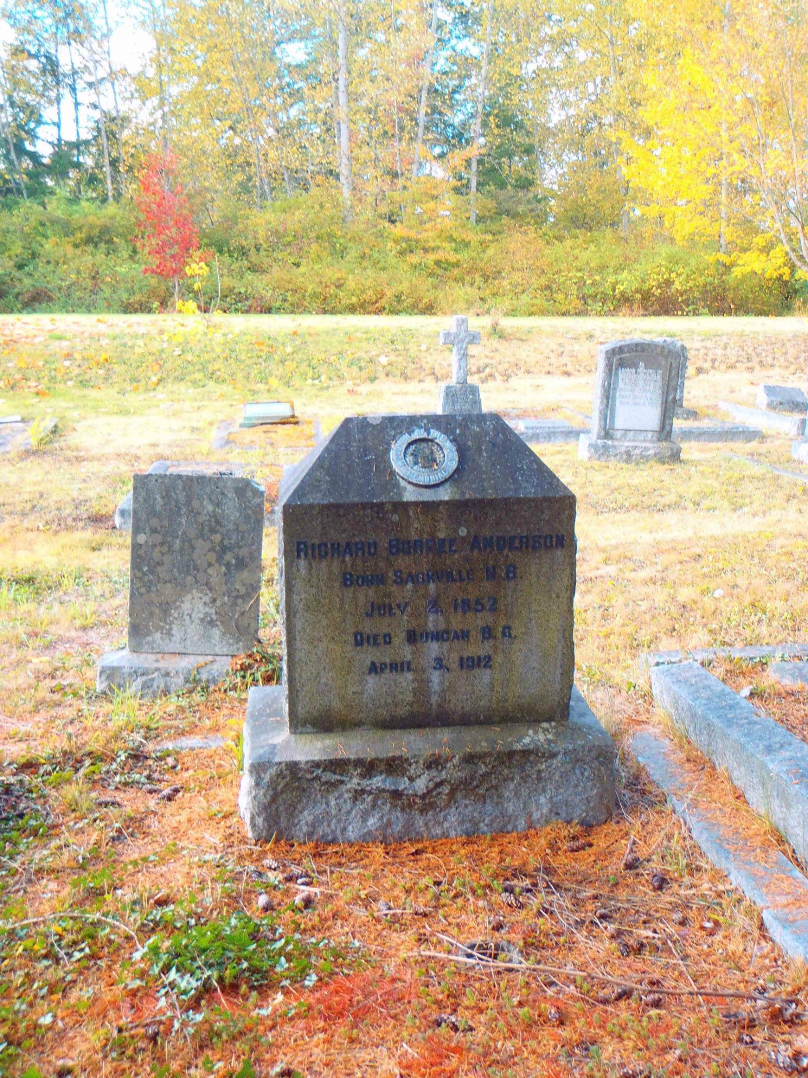 Richard Burpee Anderson grave, St. Peter's Quamichan cemetery
