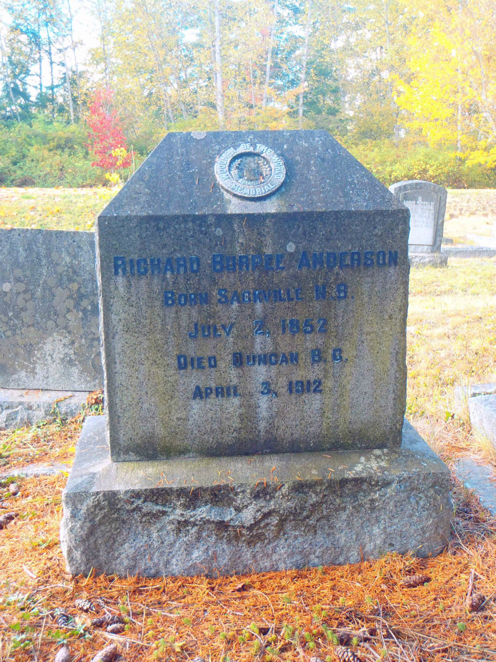 Richard Burpee Anderson grave, St. Peter's Quamichan cemetery