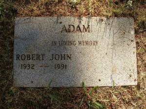 Robert John Adam, grave, St. Peter's Quamichan cemetery