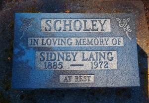Sidney Laing Scholey, grave, St. Peter's Quamichan cemetery