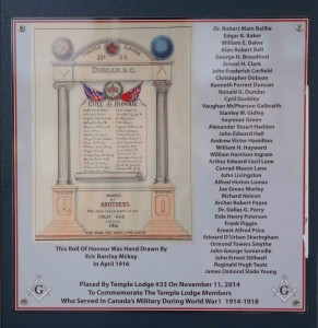 Our World War One Memorial Plaque, unveiled on the Duncan Masonic Temple on 11 November 2014