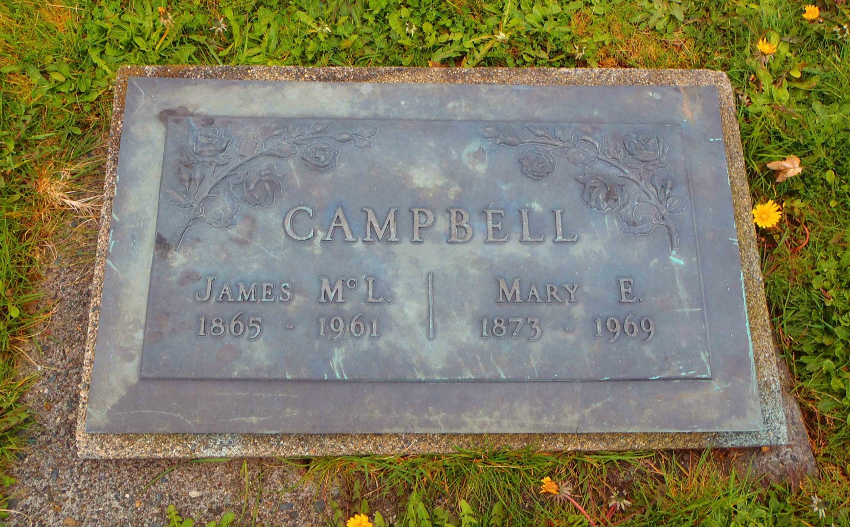 James McLeod campbell grave marker, Mountain View Cemetery, North Cowichan