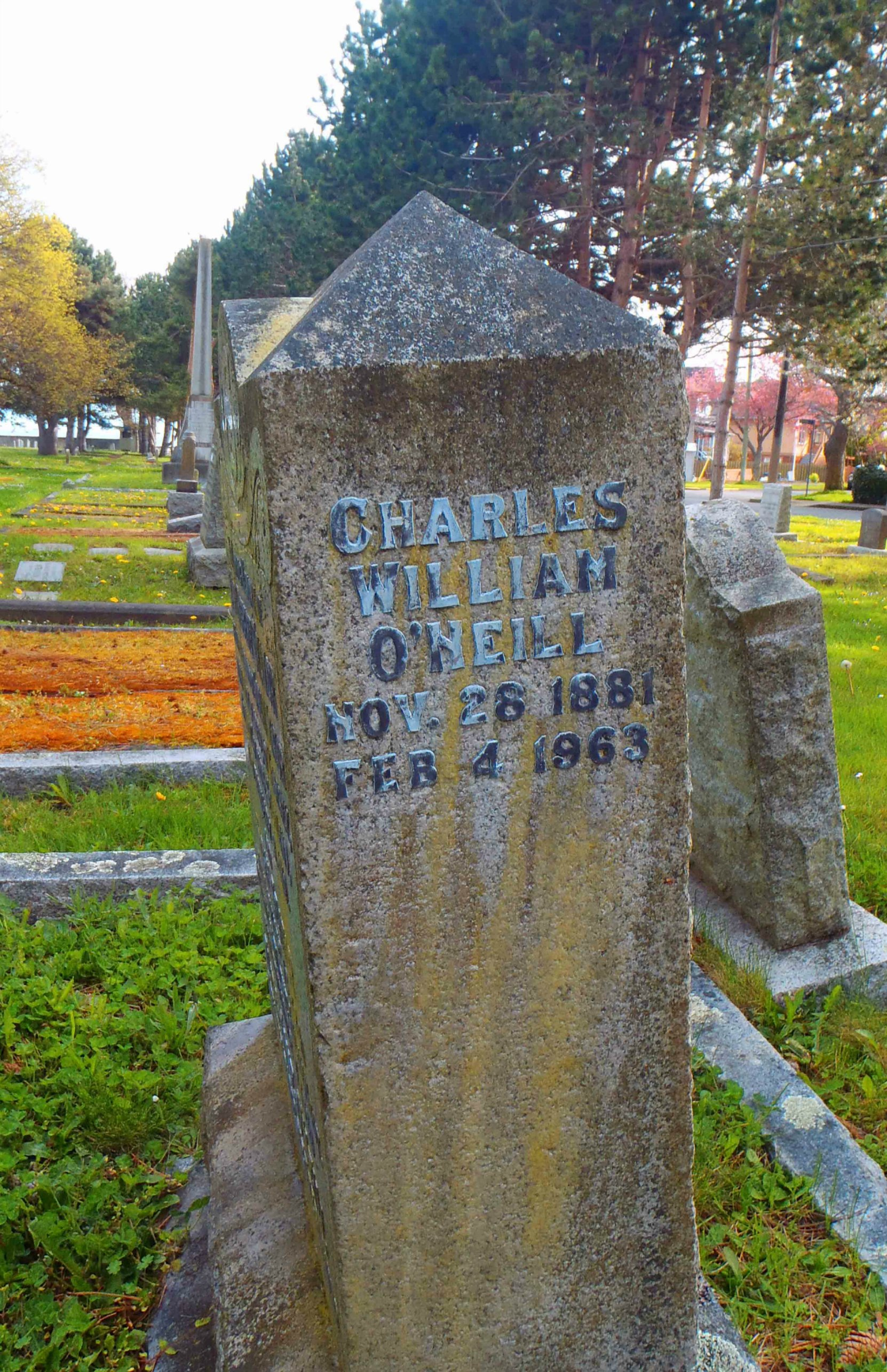 Charles William O'Neill grave inscription, Ross Bay cemetery, Victoria, B.C.