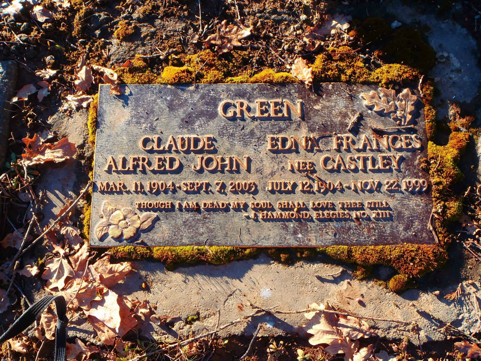 Claude and Edna Green grave marker, St. Mary's Somenos Anglican Cemetery