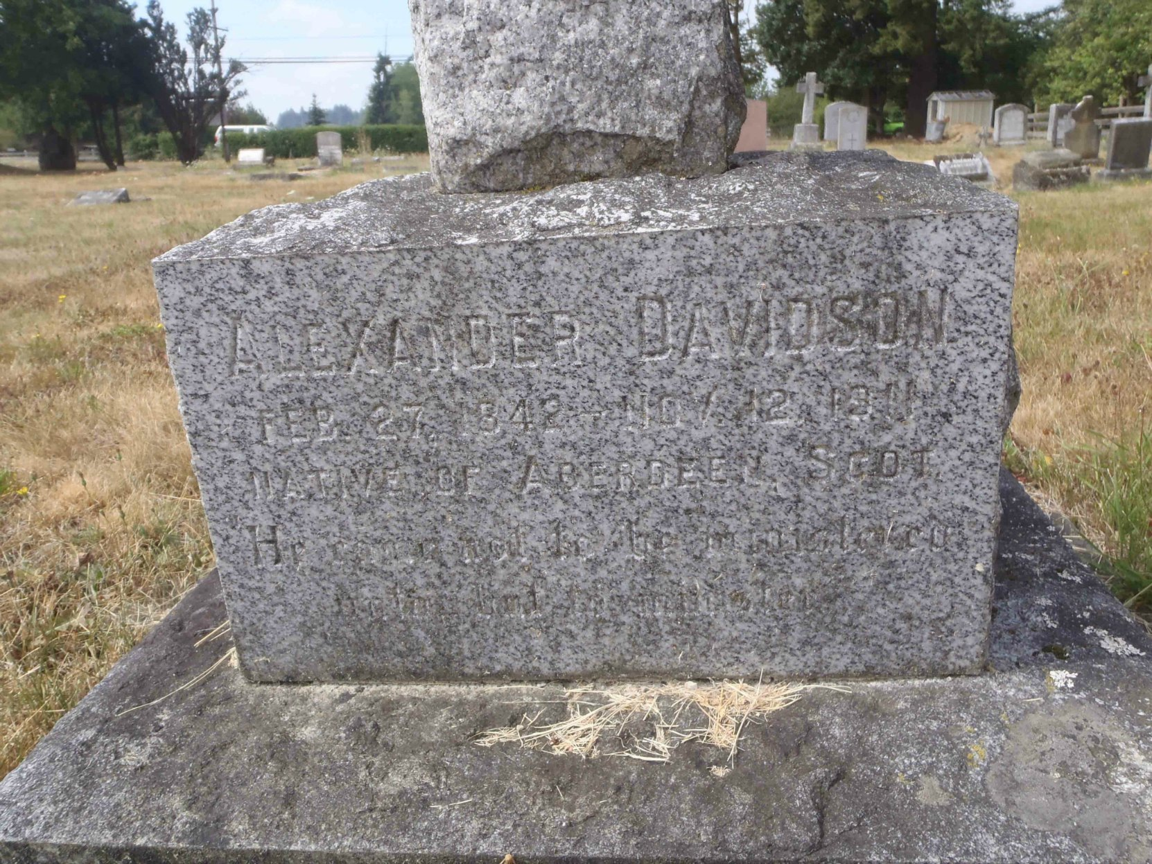 Alexander Davidson grave stone inscription, St. Mary's Somenos Anglican cemetery, North Cowichan, B.C.