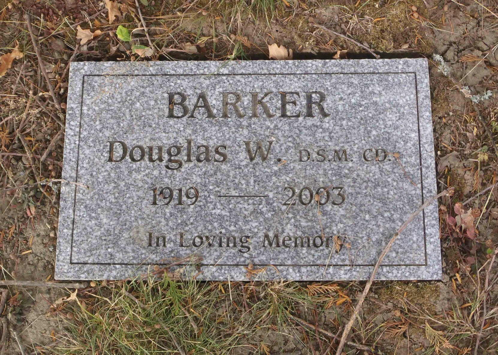 Douglas Barker grave marker, St. Mary's Somenos Anglican cemetery, North Cowichan.