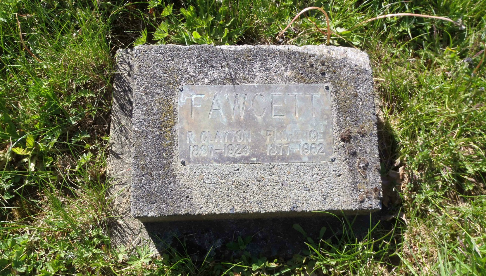 Roland Clayton Fawcett grave stone, St. Mary's Somenos Anglican cemetery, North Cowichan, B.C.