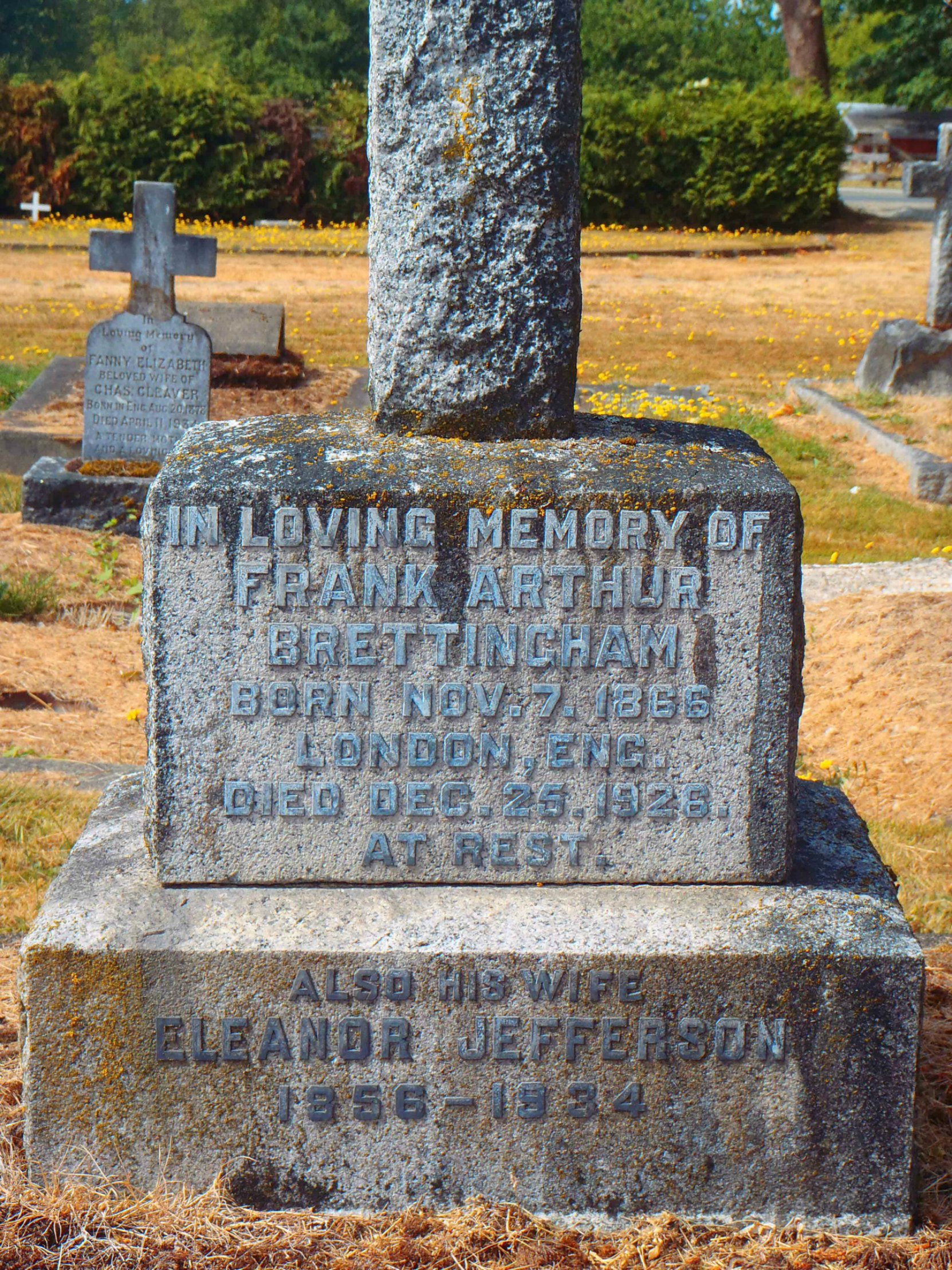 Frank Arthur Brettingham grave inscription, St. Mary's Somenos Anglican Cemetery, North Cowichan