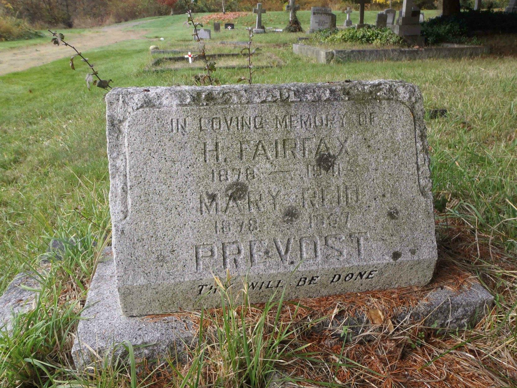 Harold Fairfax Prevost grave stone, St. Peter's Quamichan Anglican cemetery