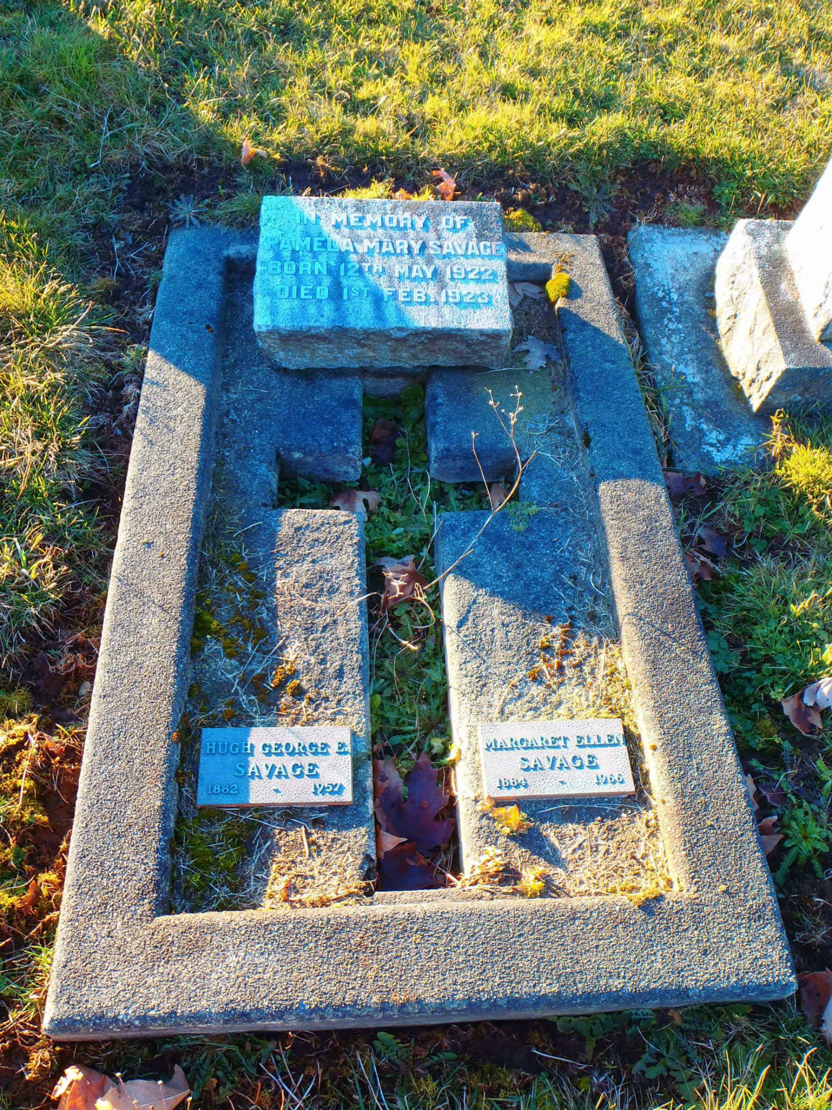 Hugh George Savage family grave marker, St. Mary's Somenos Anglican cemetery
