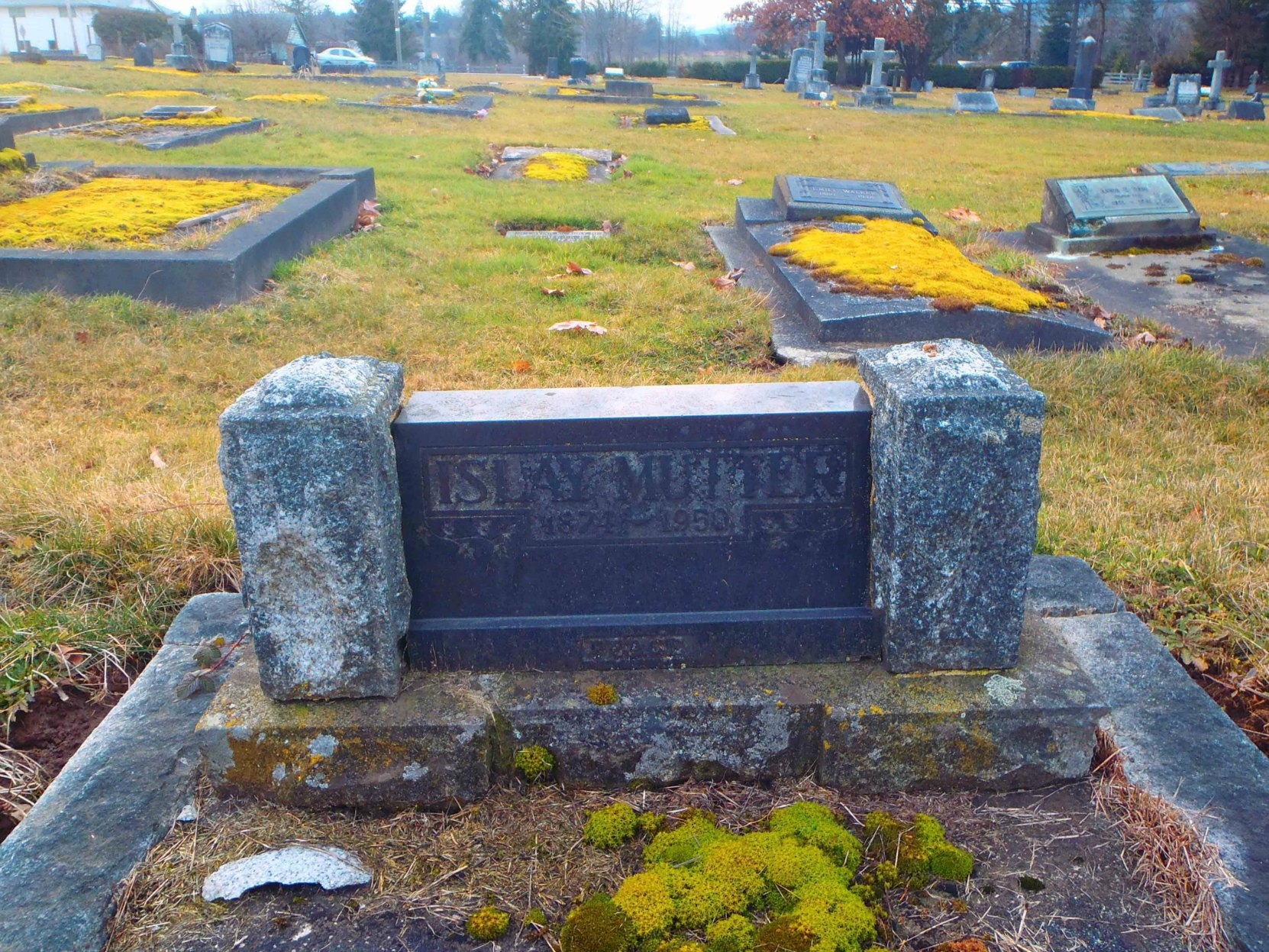 J. Islay Mutter grave marker, St. Mary's Somenos Anglican cemetery, North Cowichan