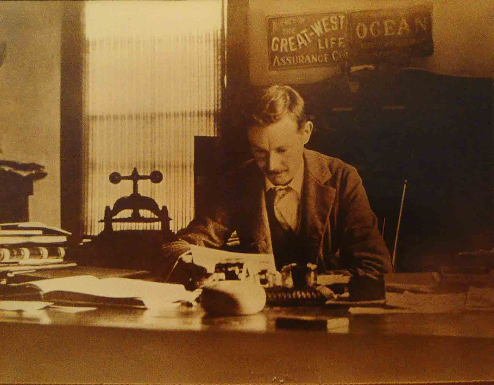 James Whittome in his office, circa 1914