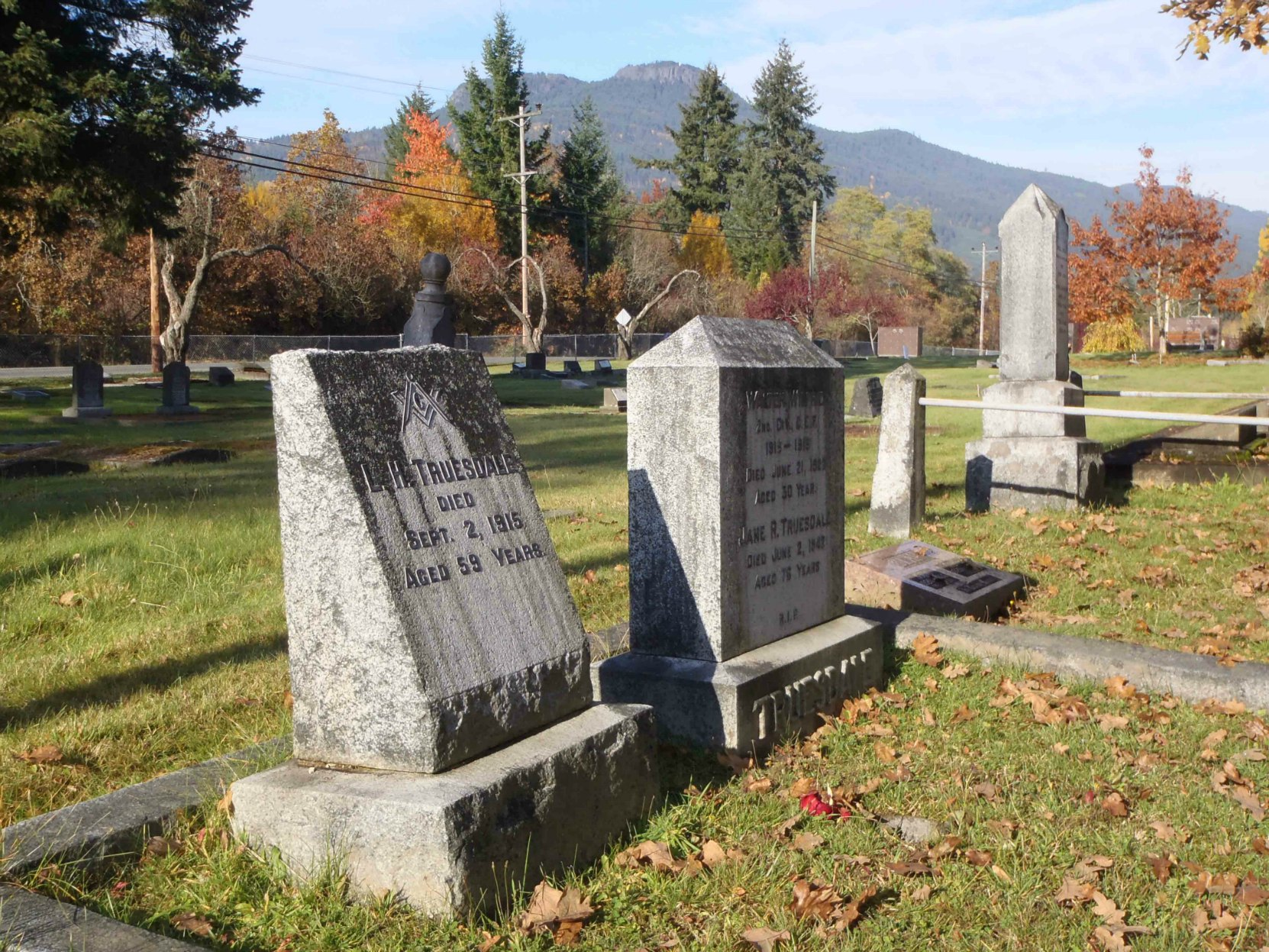Mountain View Cemetery with Mt. Prevost in the background