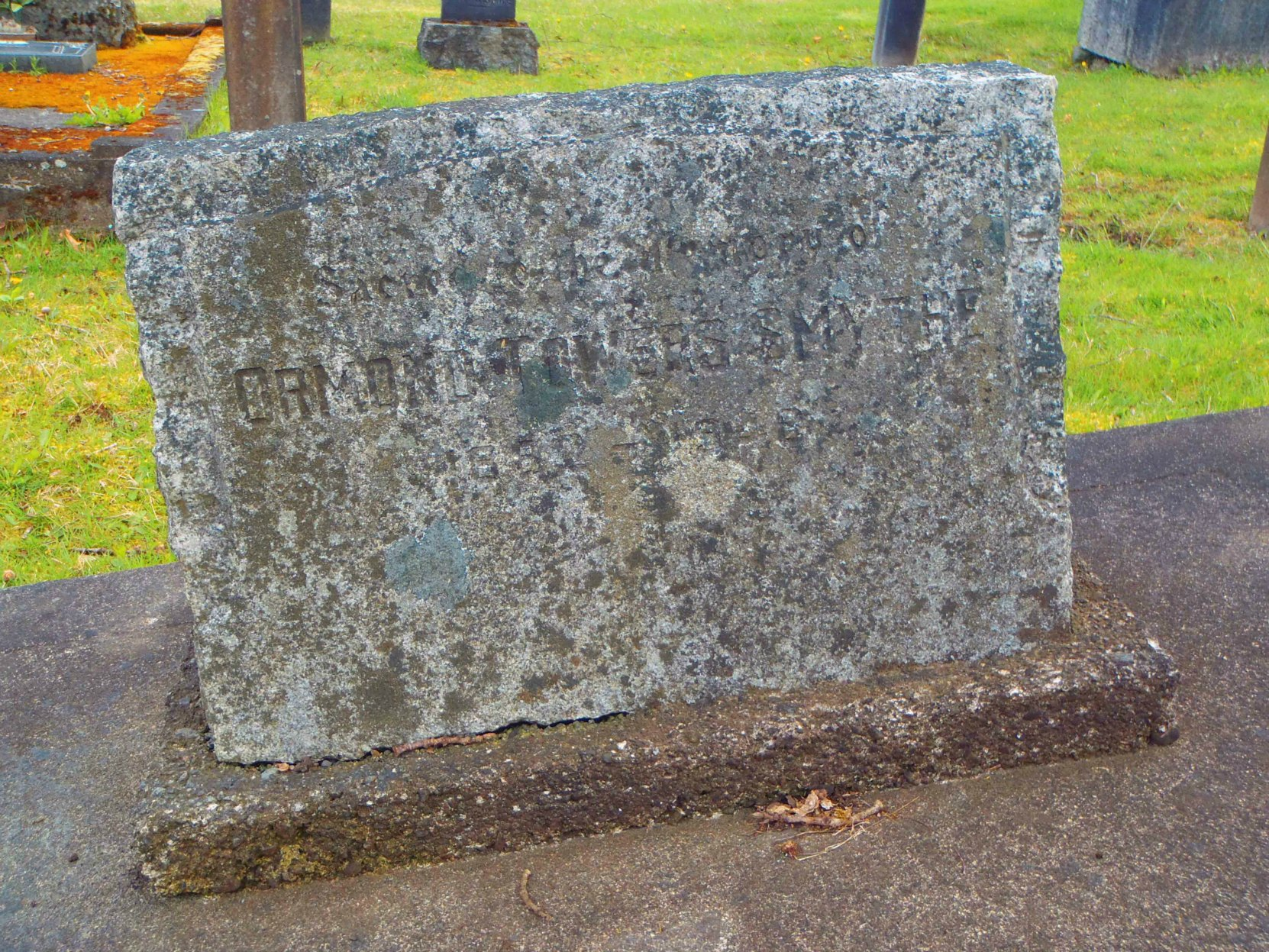 Ormond Towers Smythe grave marker, Mountain View Cemetery, North Cowichan, B.C.