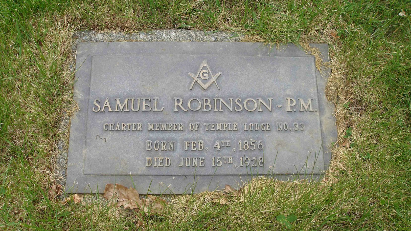 Samuel Robinson grave marker, St. Mary's Somenos Anglican Cemetery, North Cowichan, B.C.