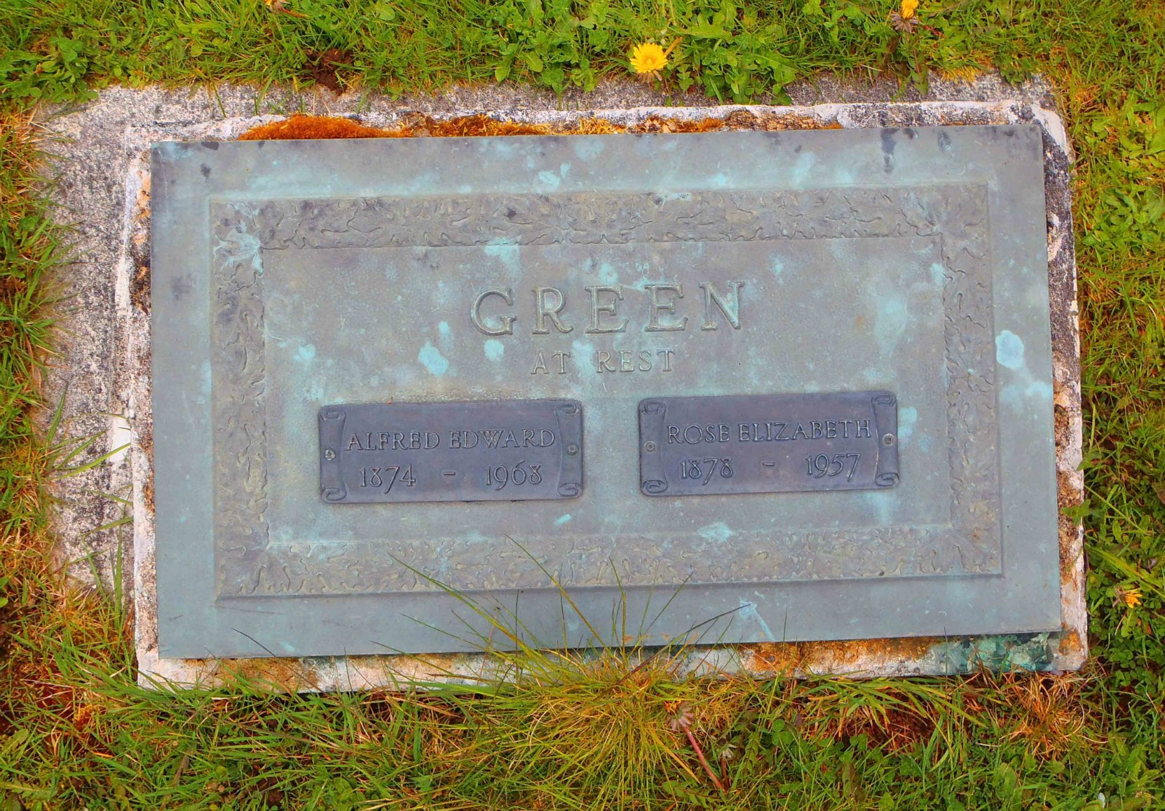 Albert Edward Green grave marker, Mountain View Cemetery, North Cowichan
