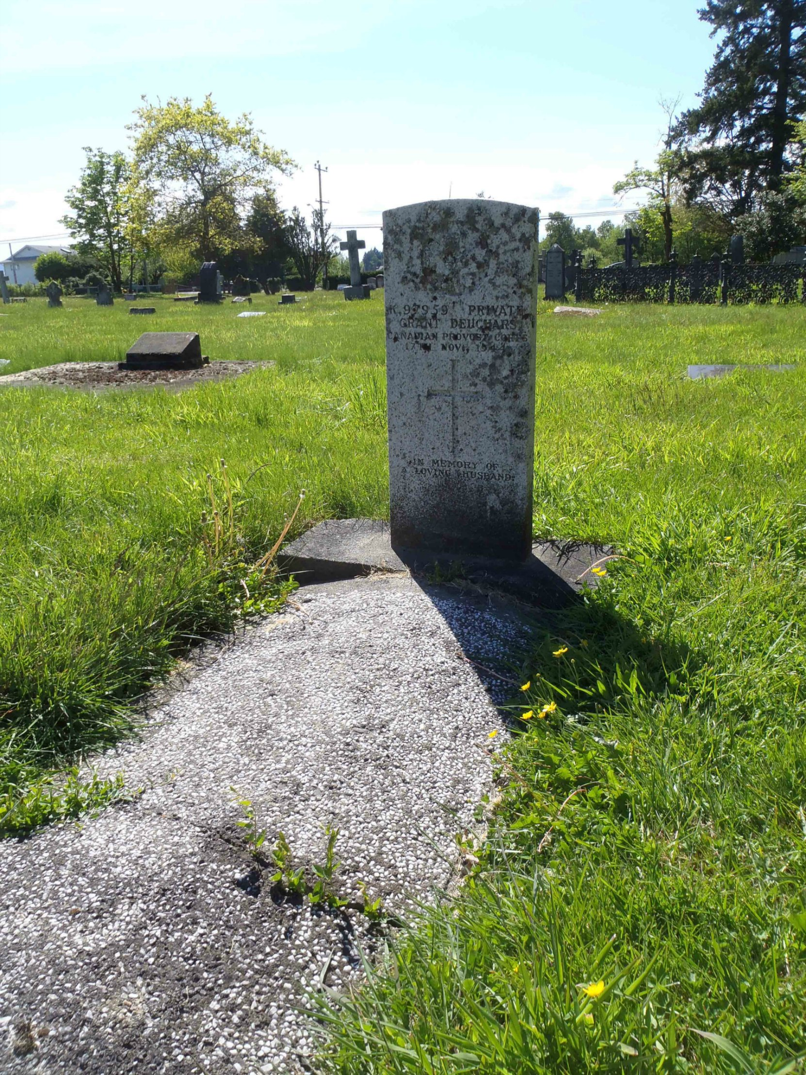 Grant Deuchars grave, St. Mary's Somenos Anglican Cemetery, North Cowichan, B.C.