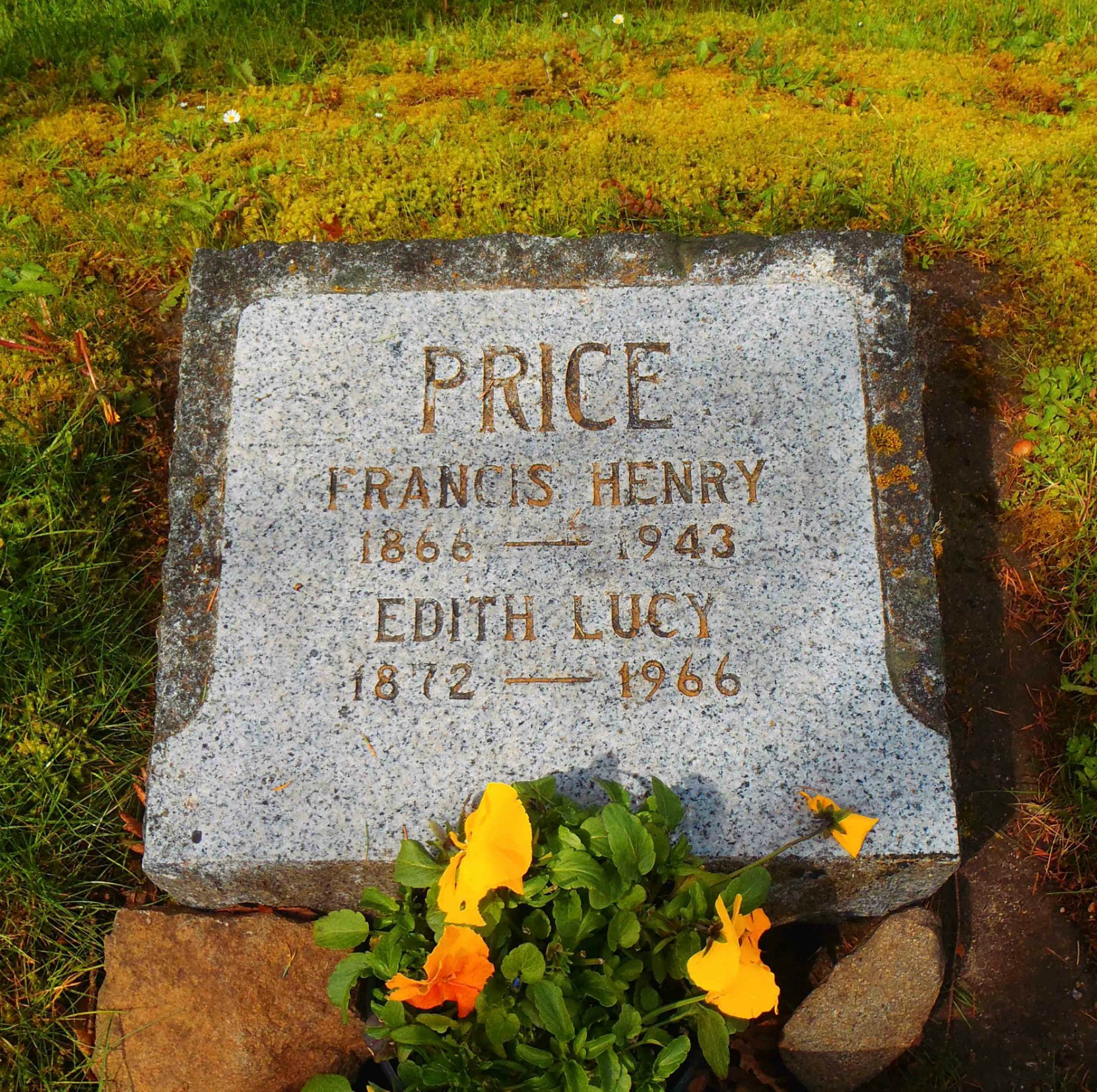 Francis Henry Price grave marker, St. Peter's Quamichan Anglican cemetery, North Cowichan.