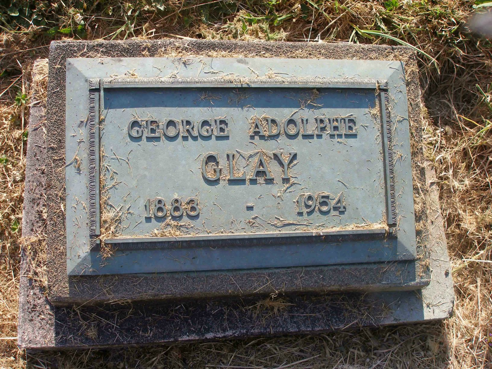 George Adolphe Glay grave marker, St. Peter's Quamichan Anglican cemetery, North Cowichan. B.C.