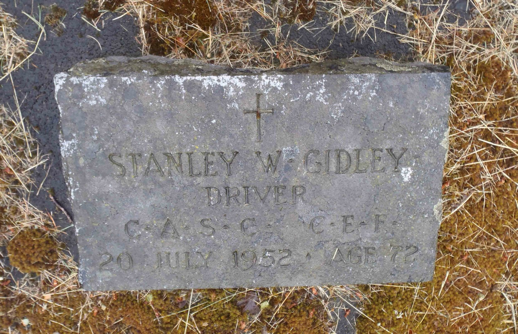 Stanley William Gidley grave marker, Mountain View Cemetery, North Cowichan, B.C.