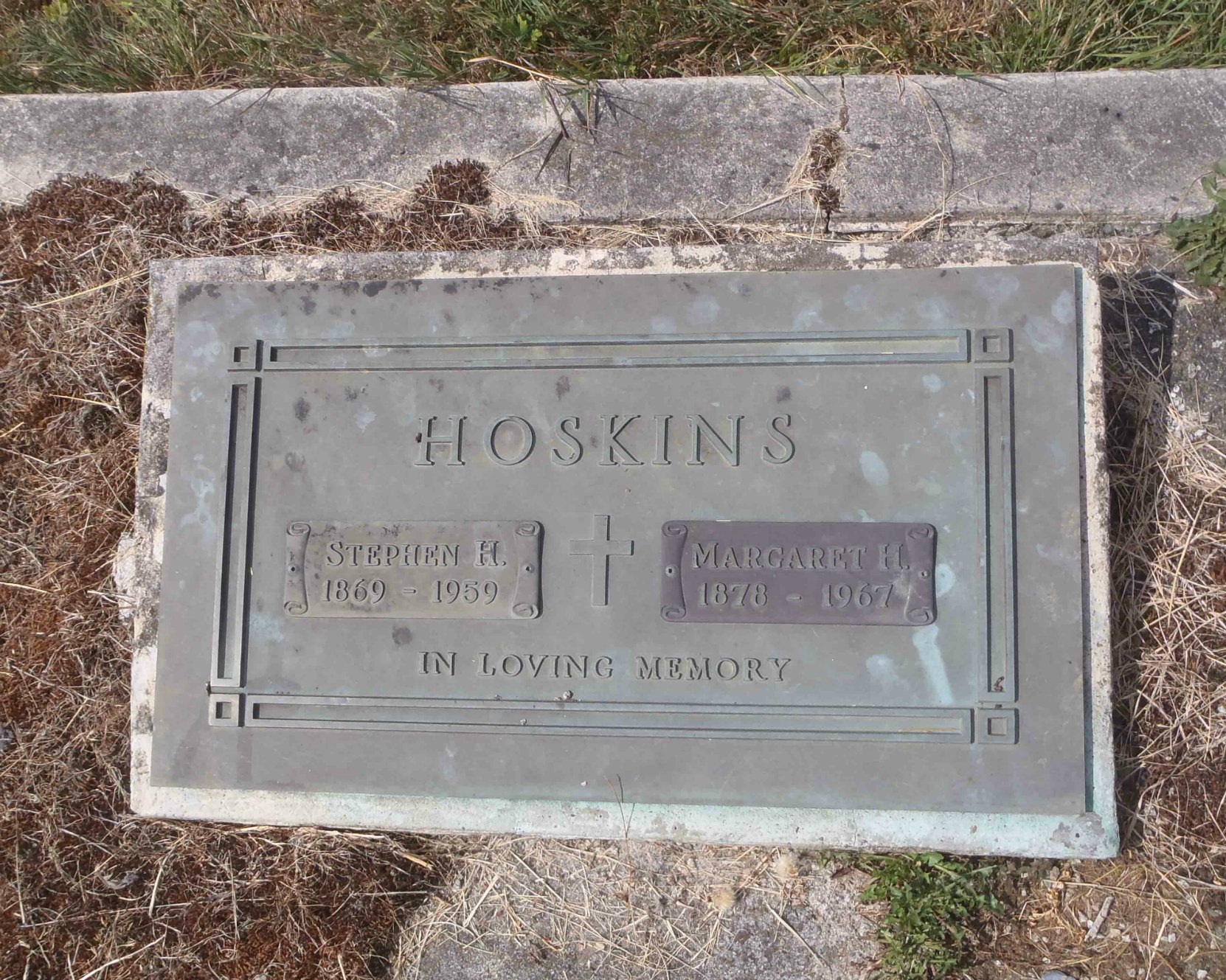 Steven & Margaret Hoskins grave marker, St. Mary's Somenos Anglican cemetery, North Cowichan.