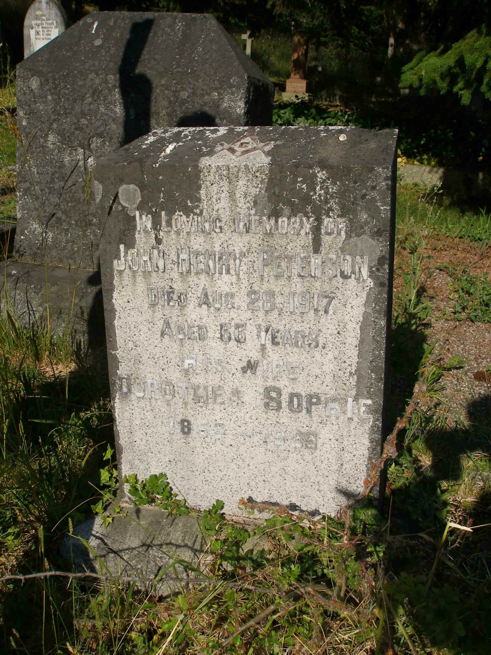 John Henry Peterson grave, St. Peter's Quamichan Anglican cemetery, North Cowichan