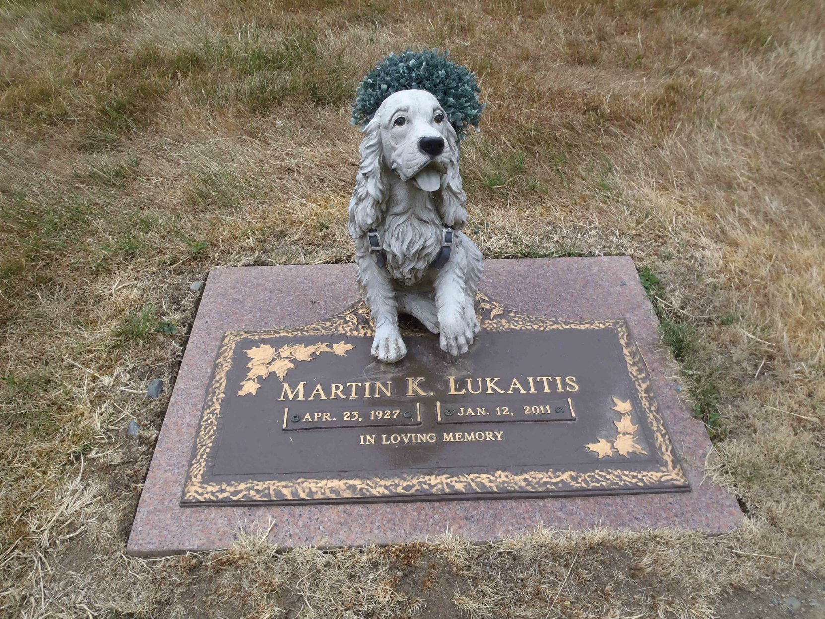 Martin Lukaitis grave marker, Mountain View Cemetery, North Cowichan, B.C.
