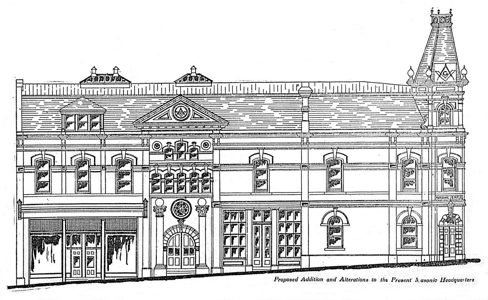 1909 architects' drawing of the 1909 additions and alterations to the Victoria Masonic Temple at 650 Fisgard Street.