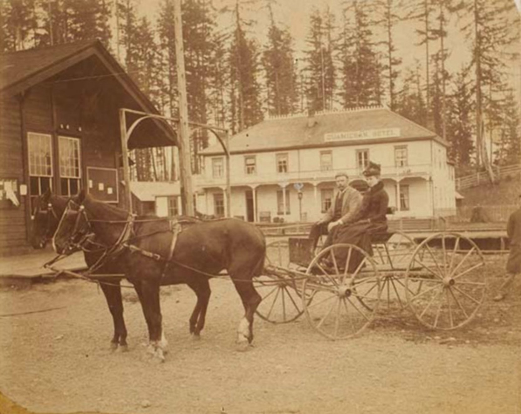 Percy Franklin Jaynes, circa 1900, with his niece Flo Jaynes, who married James Henry Whittome. The building in the left foreground is the first E&N Railway Station (photo courtesy of Keith Price)