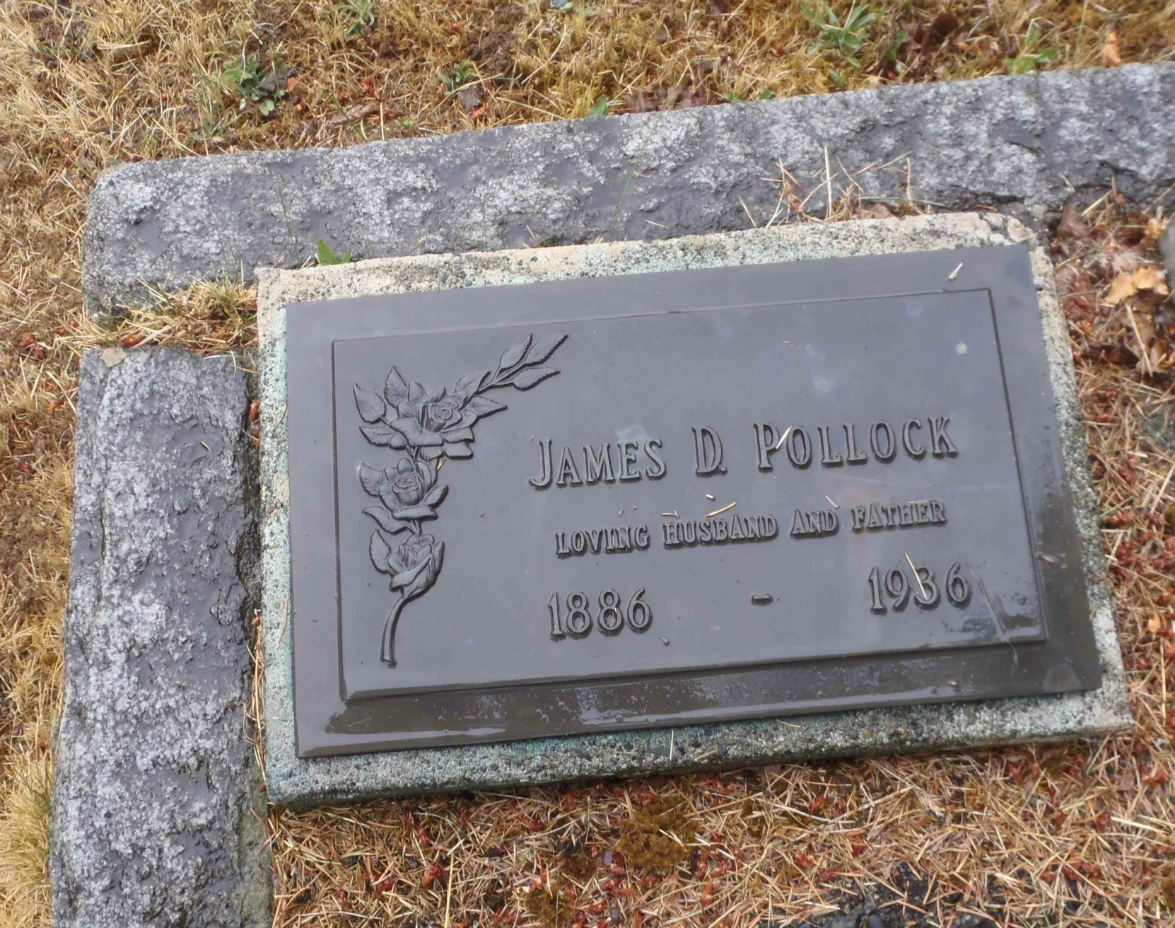 James Dickson Pollock grave marker, Mountain View Cemetery, North Cowichan, B.C.