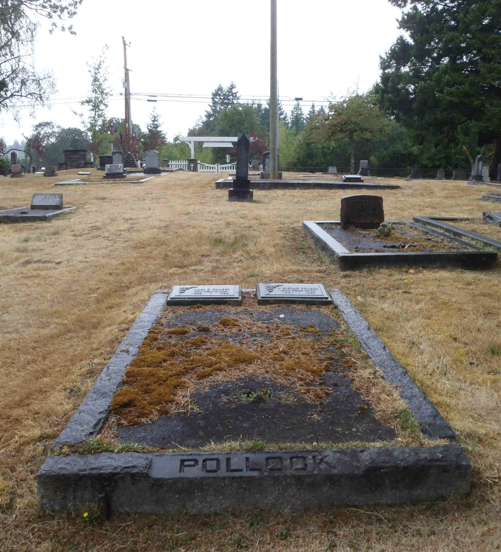 James Dickson Pollock grave, Mountain View Cemetery, North Cowichan, B.C.