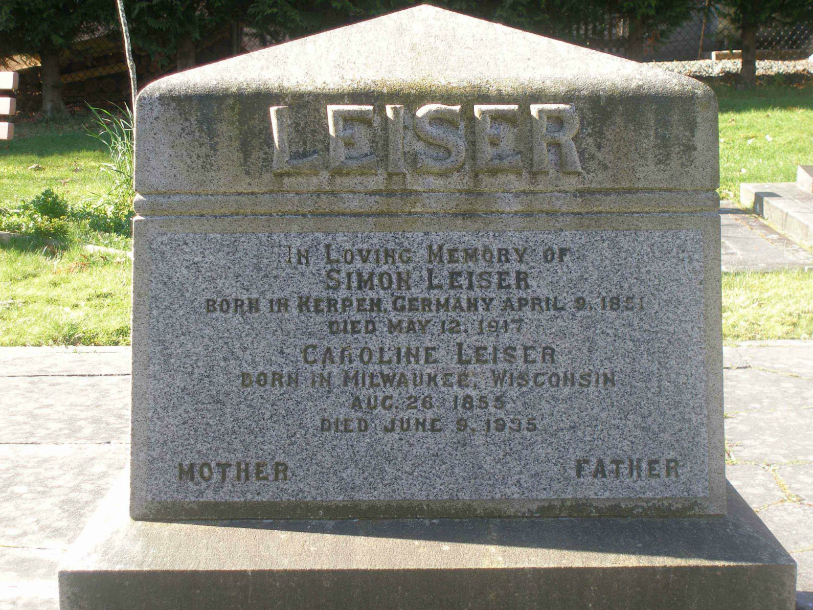 Simon Leiser's grave stone in Victoria Jewish Cemetery