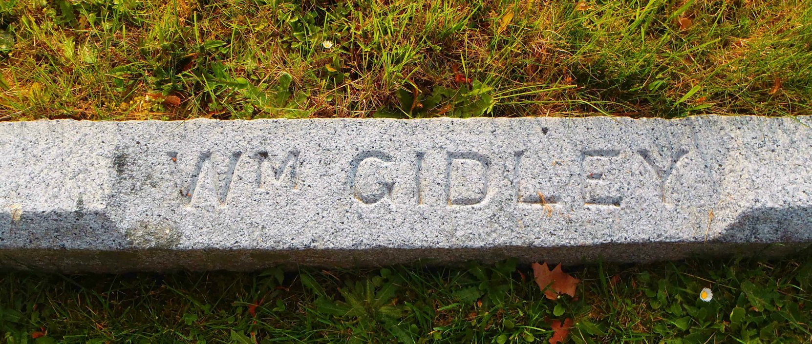 Inscription on William Gidley grave, Ross Bay Cemetery, Victoria, B.C.