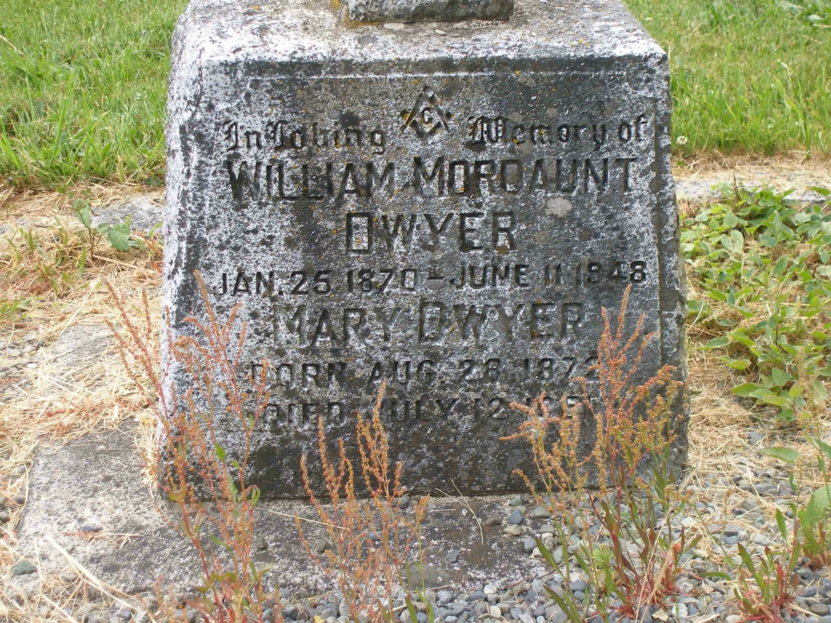 William Mordaunt Dwyer grave stone inscription, St. Peter's Quamichan Anglican cemetery, North Cowichan