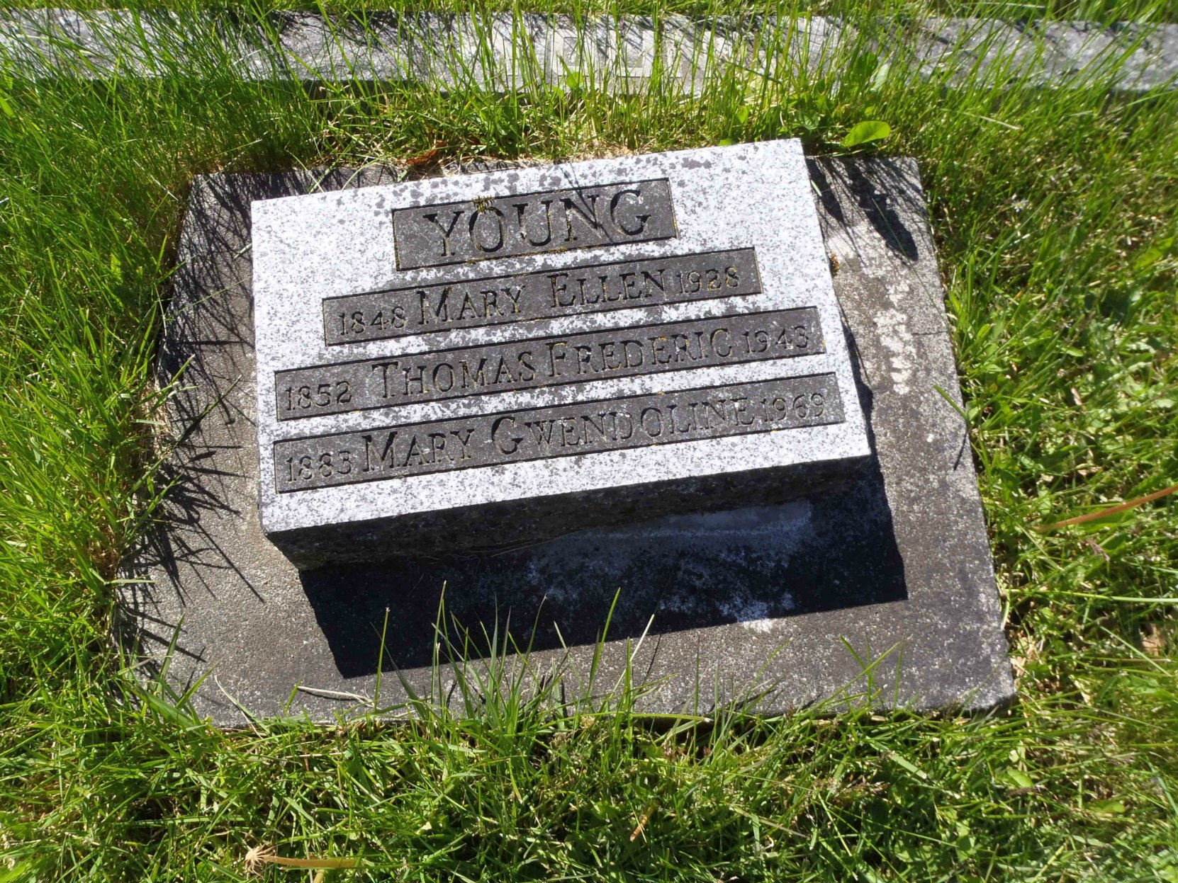 Thomas Frederick Young grave marker, St. Mary's Somenos Anglican Cemetery, North Cowichan, B.C.