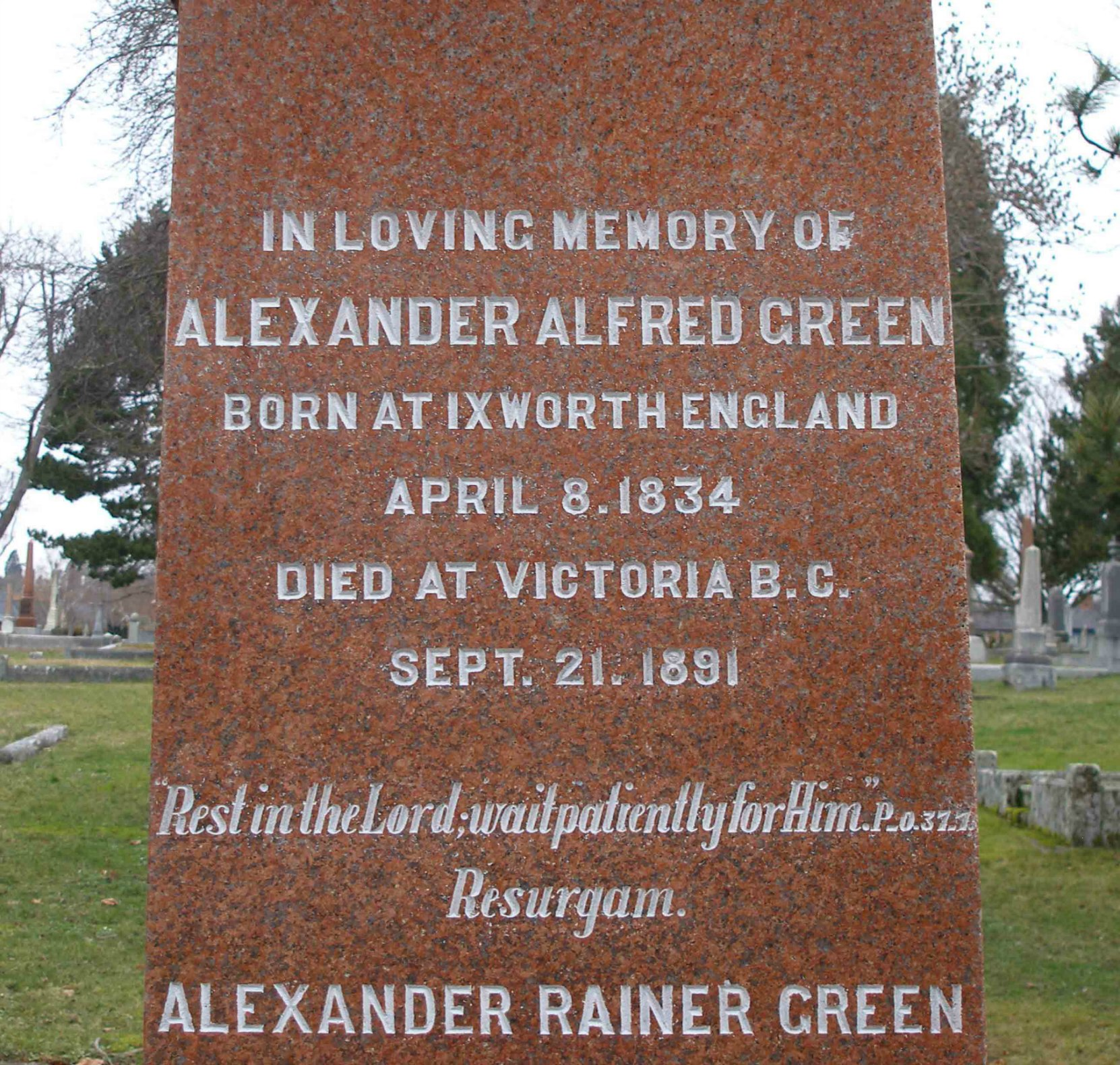 Inscription on Alexander Alfred Green grave stone, Ross Bay Cemetery, Victoria, B.C.