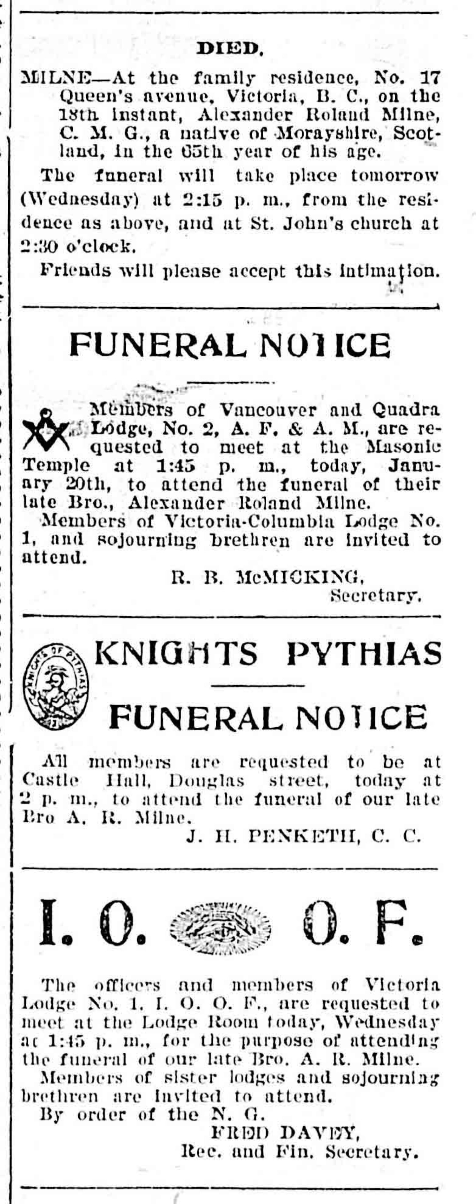 Alexander Roland Milne funeral notices in the Victoria newspapers, January 1904