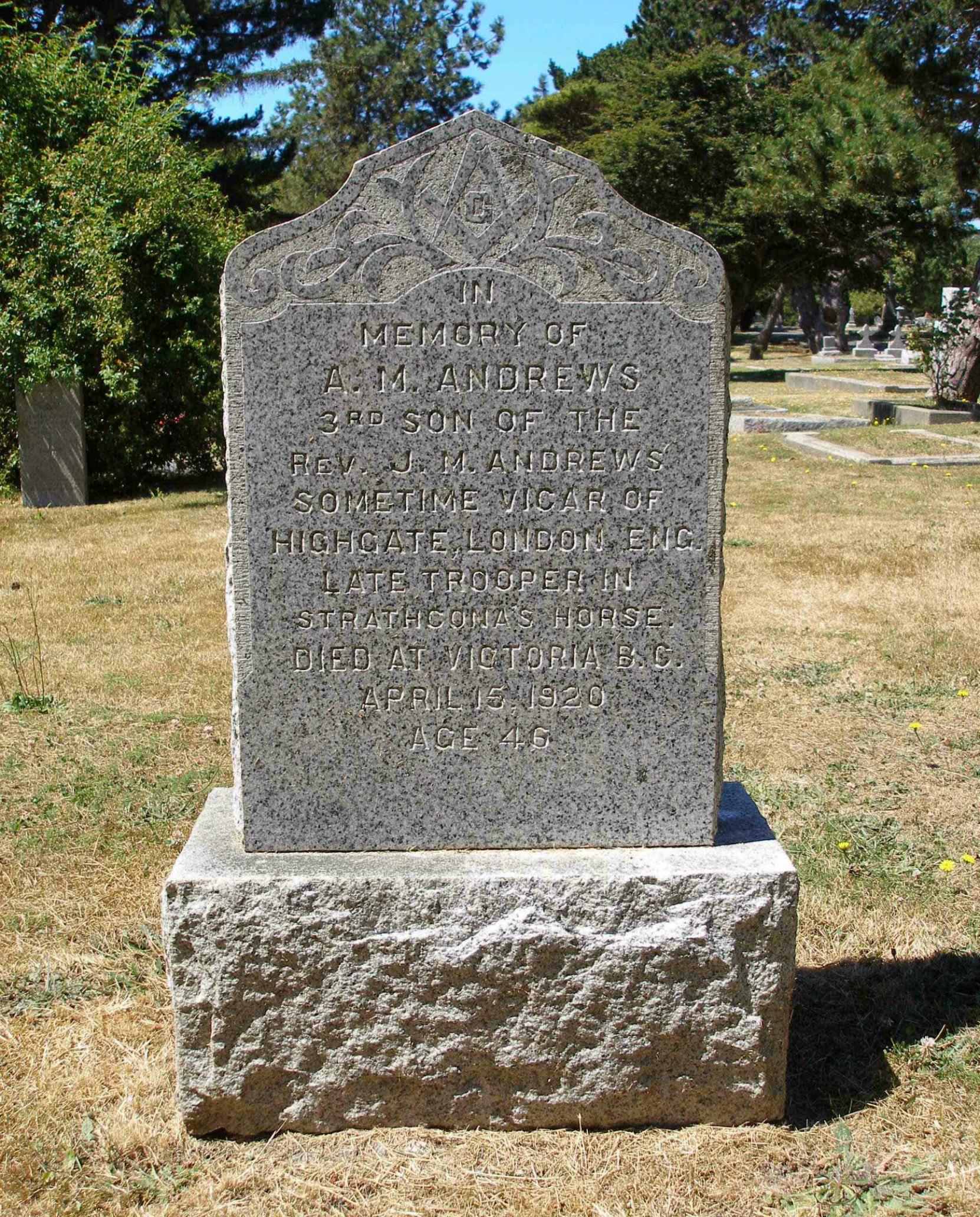 Archibald McLagan Andrews grave, Ross Bay Cemetery, Victoria, B.C.