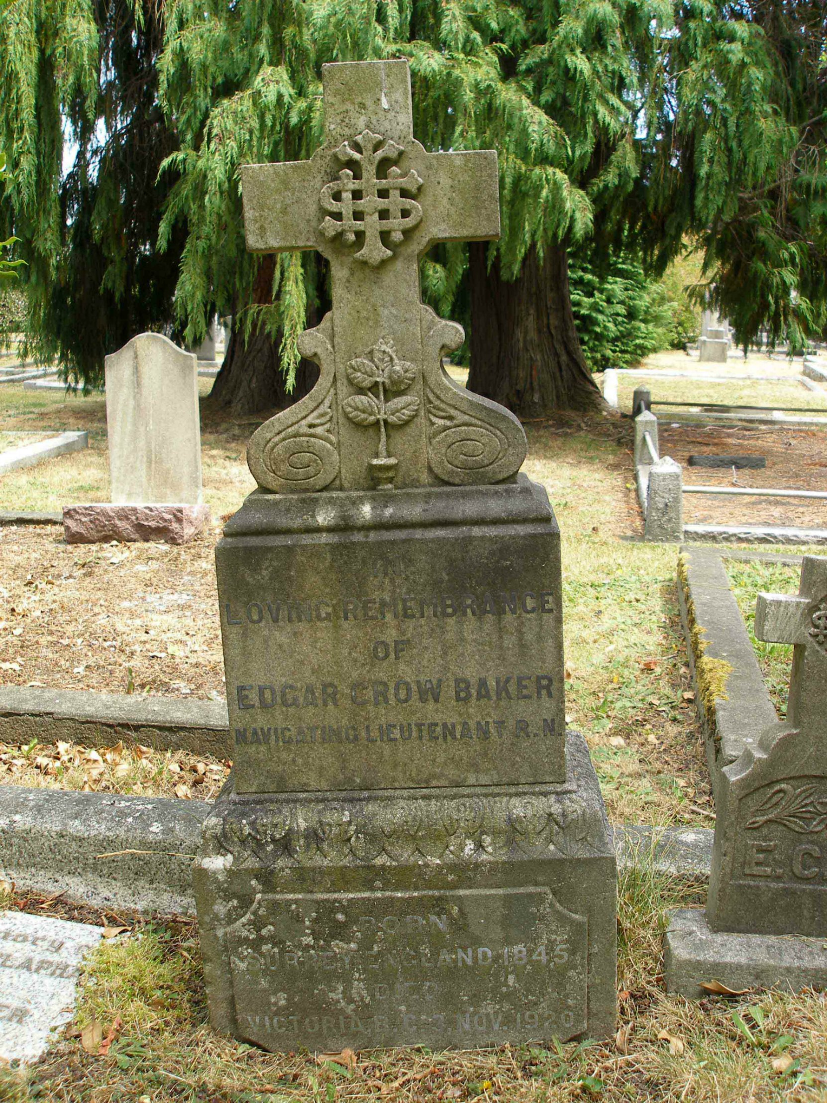 Edgar Crow Baker headstone. Ross Bay Cemetery, Victoria, B.C.